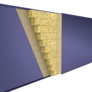 Стеновая сэндвич-панель Мин.вата ширина 1200 толщина 50 RAL 1014
