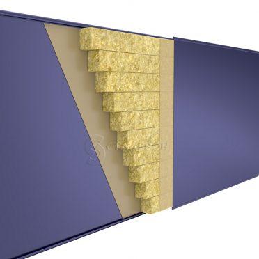 Стеновая сэндвич-панель Мин.вата ширина 1000 толщина 50 RAL 1014